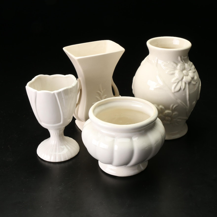 McCoy and Others White-Glazed Ceramic Planters and Vases