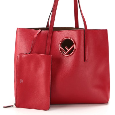 Fendi F is Fendi Red Calfskin Leather Tote Bag with Zip Pouch
