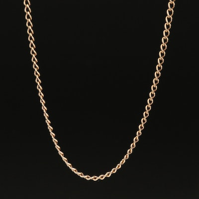 10K Curb Chain Necklace with 14K