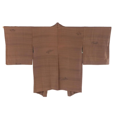 Brown Striped Haori with Painted Landscape Accents and Himo, Shōwa Period