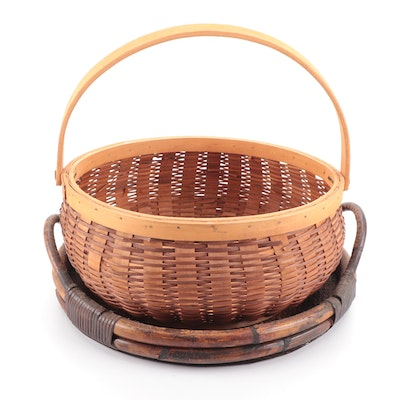 Woven Wood Splint Basket and Reed Tray