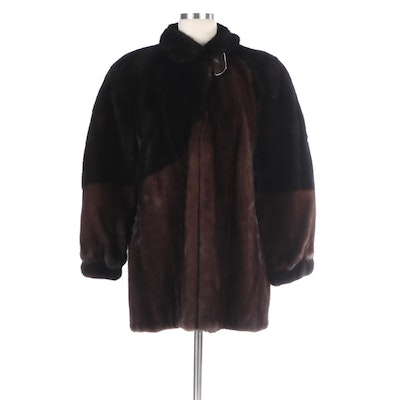 Two-Tone Mink Fur Coat with Banded Cuffs From Evans Furs at Robinson's