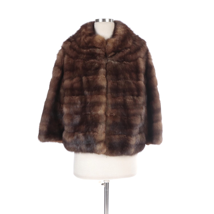 Sable Fur Three-Quarter Sleeve Cropped Jacket by Paul Mann for Westport Furs