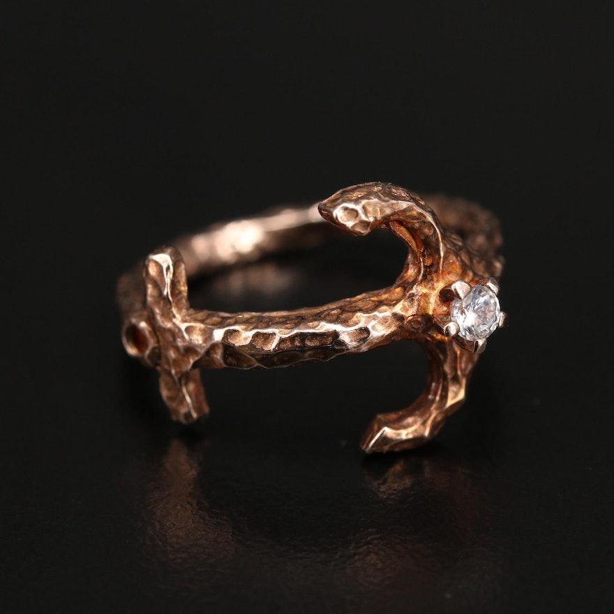 Italian Sterling Cubic Zirconia Anchor Ring