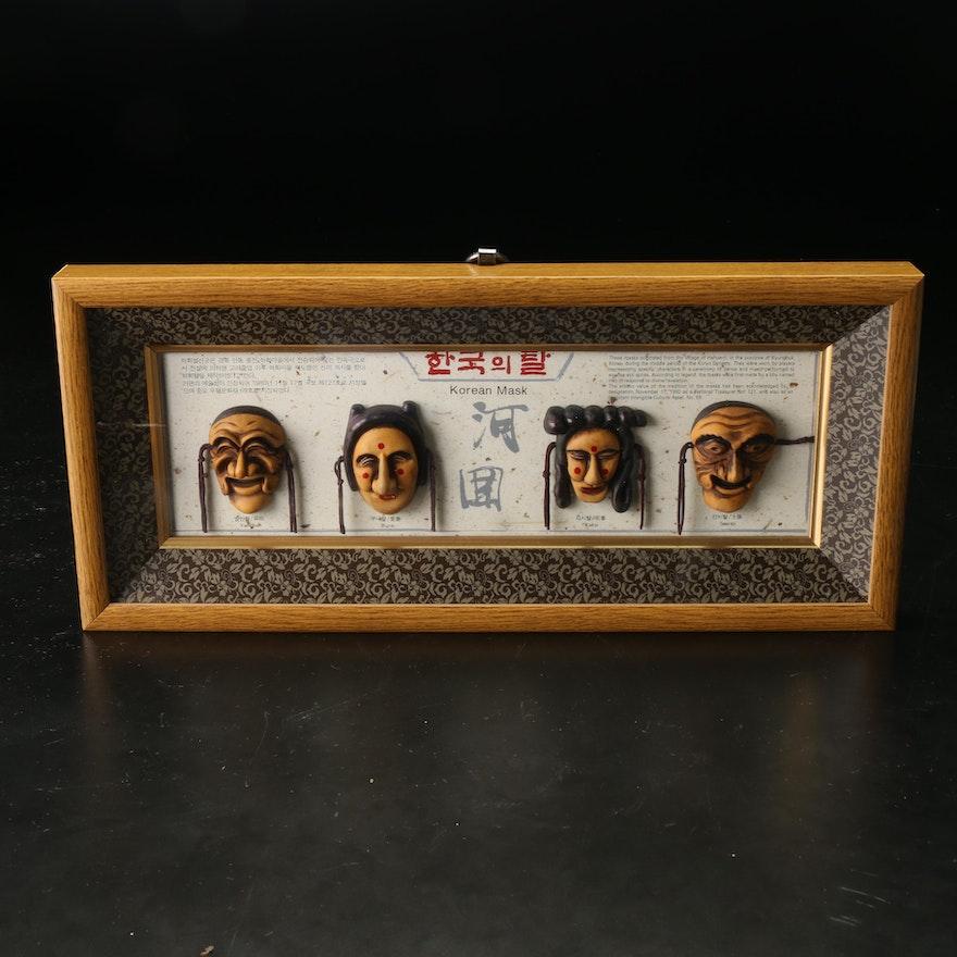 Miniature Korean Masks Framed Display