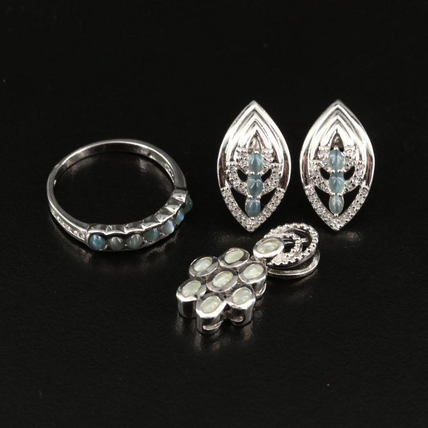 Sterling Silver Jewelry Featuring Cat's Eye Chrysoberyl and White Zircon