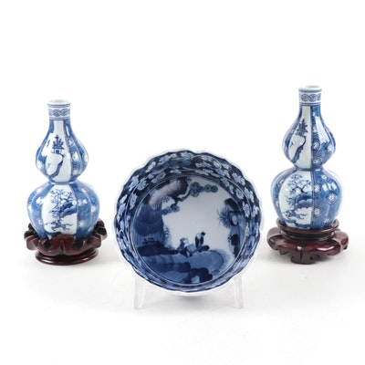 Japanese Nabeshima Ware Porcelain Double Gourd Vases and Bowl
