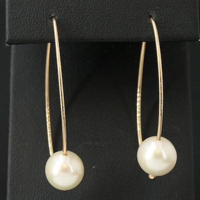 14K Pearl Threader Earrings