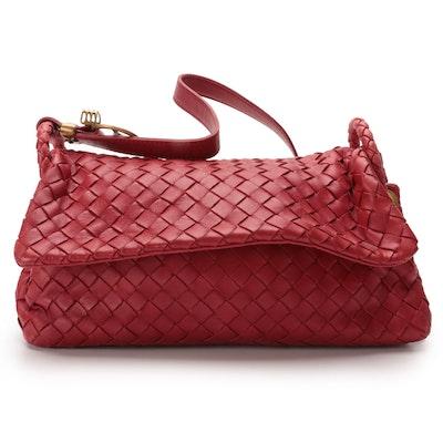 Bottega Veneta Red Intrecciato Leather Shoulder Bag