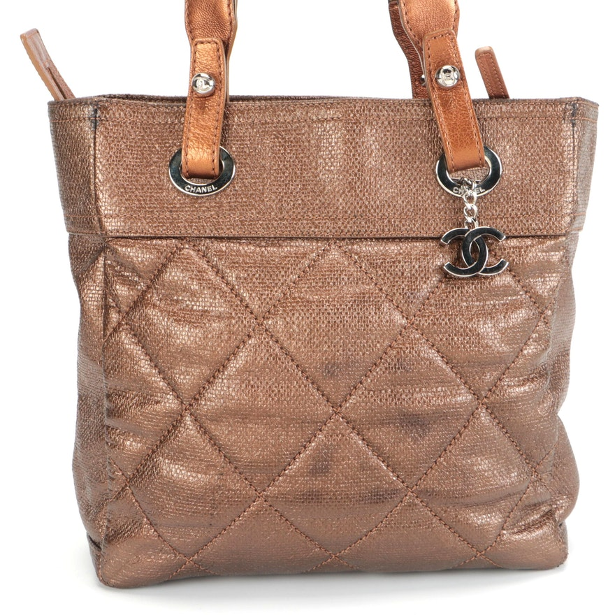 Chanel Paris Biarritz Tote PM in Metallic Coated Canvas with Leather Trim