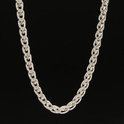 Italian Sterling Wheat Chain Necklace