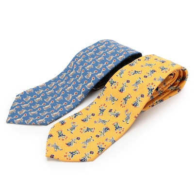 Chanel Patterned Silk Neckties in Circus Print