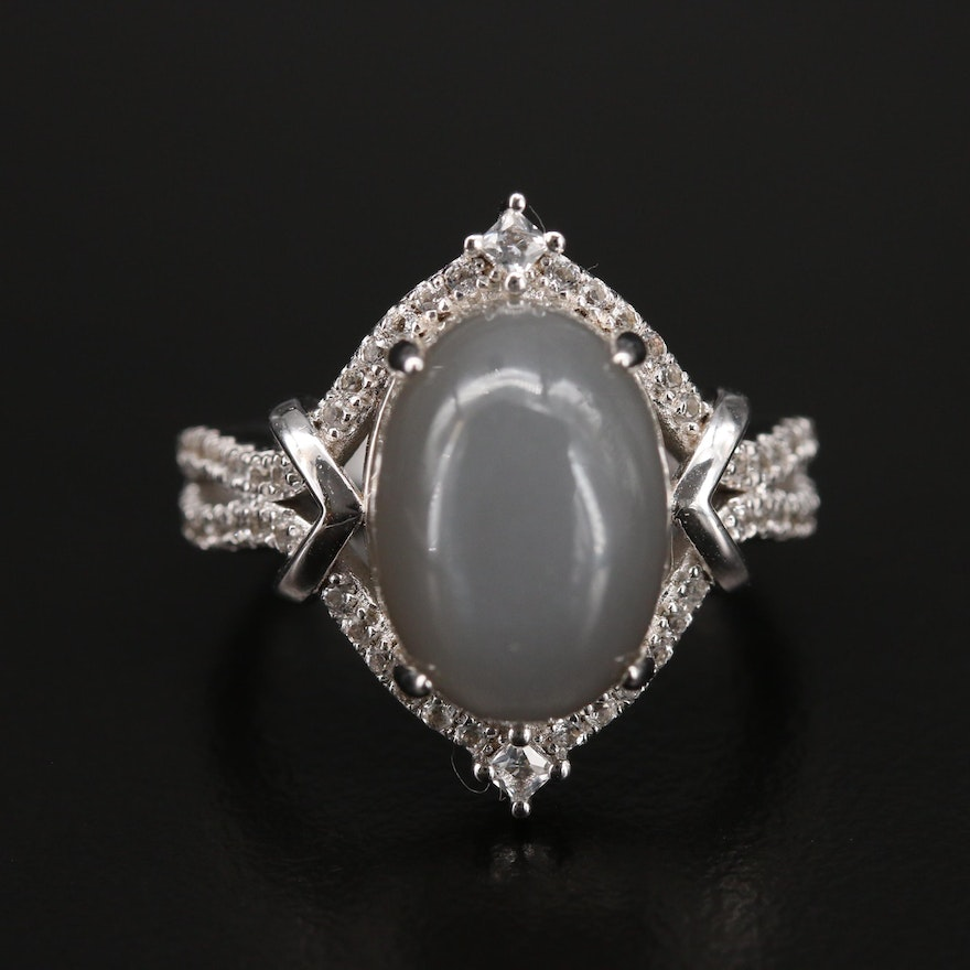 Sterling Moonstone and Topaz Ring