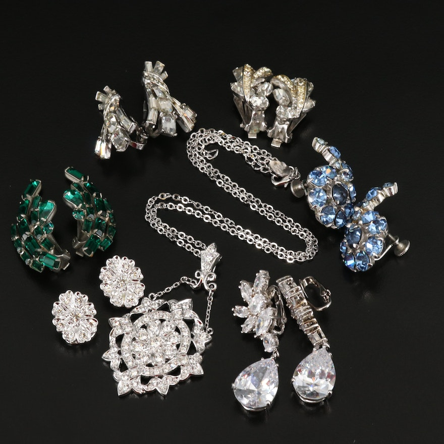 Vintage Earrings and Necklaces Featuring Weiss, Nolan Miller and Rhinestones