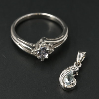Sterling Ring and Pendant Including Tanzanite and Zircon