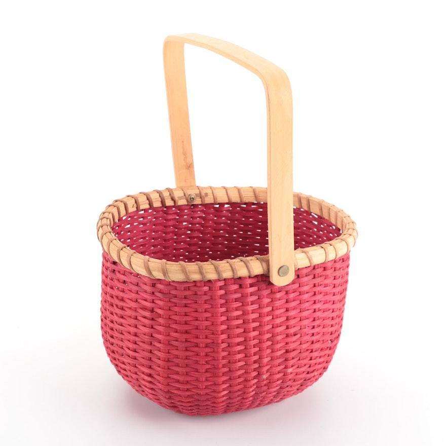 Handmade Red Wood Splint Woven Basket