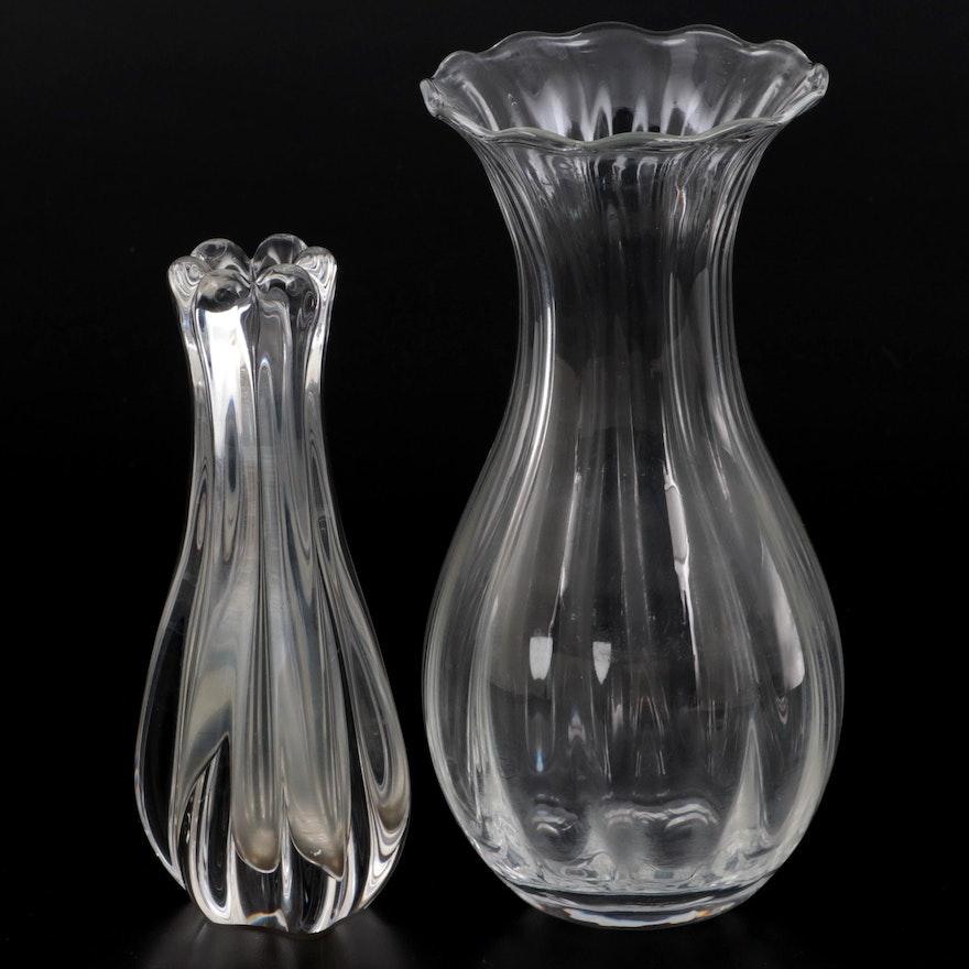 "Orrefors ""Anemone"" Vase with Orrefors Bud Vase"
