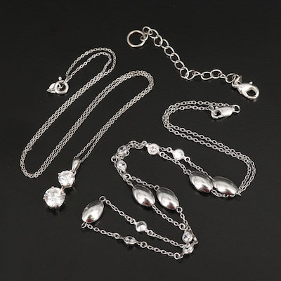 Sterling Cubic Zirconia Necklaces with Extender