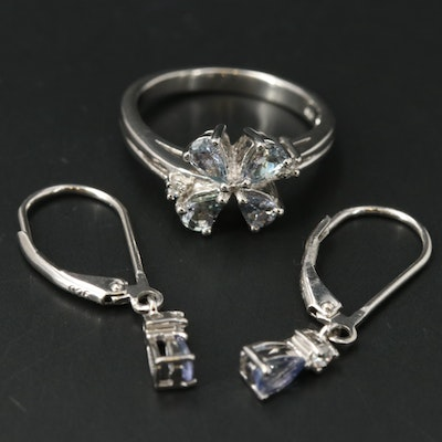 Sterling Flower Ring and Drop Earrings with Tanzanite and Zircon