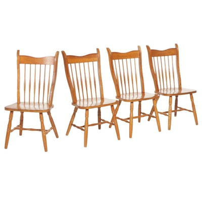 """Four Oak Spindle Back """"Mule Ear"""" Dining Chairs"""
