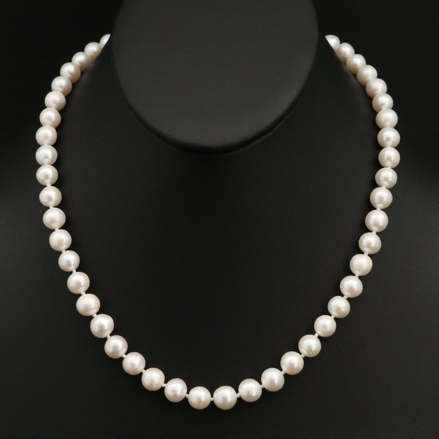 Pearl Necklace with 10K Clasp
