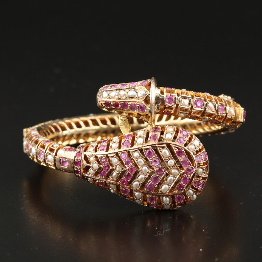 10K Ruby and Pearl Openwork Hinged Bangle with Snake Design