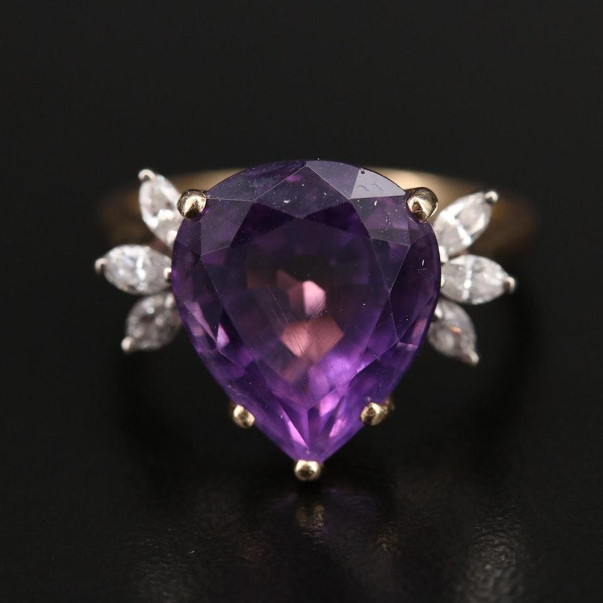 14K 7.36  CT Amethyst and Diamond Ring