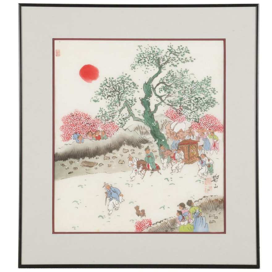 Chinese Watercolor and Gouache Painting of Procession With Palanquin