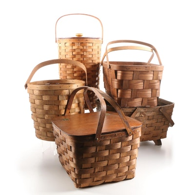 Peterboro and Other Split Wood Wicker Woven Picnic and Storage Baskets
