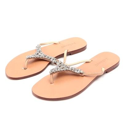 L.K. Bennett Rhinestone Embellished Leather Flip-Flop Sandals