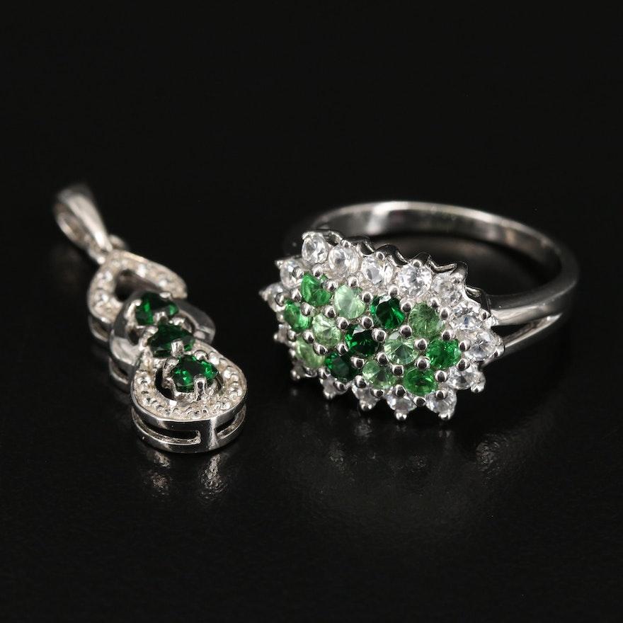 Sterling Tsavorite and White Zircon Ring and Pendant