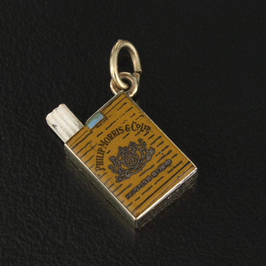 Vintage 14K Articulated Pack of Philip Morris Cigarettes Charm