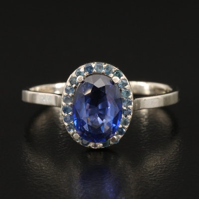 14K Sapphire Halo Ring with 1.75 CT Sapphire Center