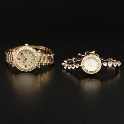 Judith Ripka Summit Topaz and Diamonique Cubic Zirconia Gold Tone Wristwatch