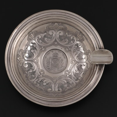 Casa Alves Pinto Sterling Silver Ashtray with Inset 1859 1000-Reis Coin