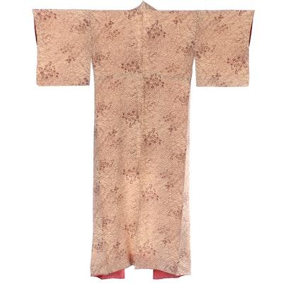 Japanese Floral Bush Clover Komon Kimono, Shōwa Period