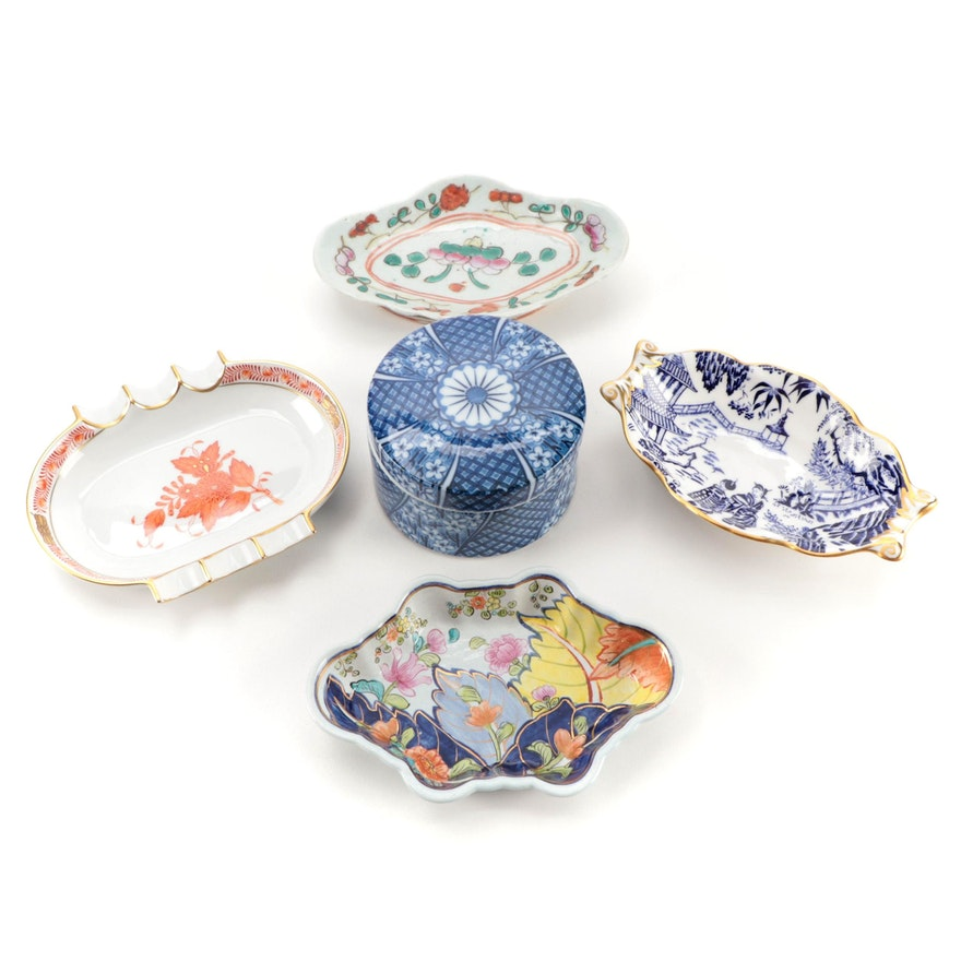 """Herend """"Chinese Bouquet"""" Porcelain Ashtray with Other Trinket Box and Dishes"""
