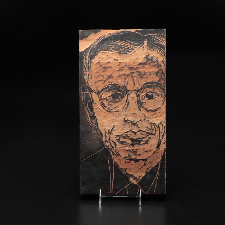 Hand-Craved Wooden Relief of Portrait