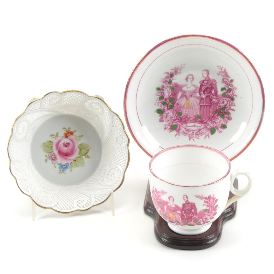 English Princess Victoria and Frederick III Commemorative Cup and Other Bowl