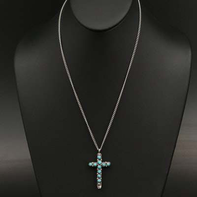 Sterling Reversible Turquoise Cross Pendant Necklace