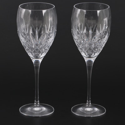 Pair of Waterford Criss Cross and Fan Cut Crystal Wine Glasses