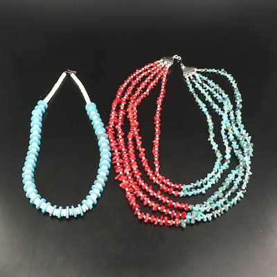 Turquoise, Coral and Howlite Beaded Necklaces