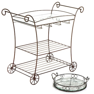 Metal Frame Bar Cart with Glass Top and Tray