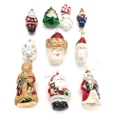 German, Polish and Other Blown Glass Santa and Nutcracker Ornaments