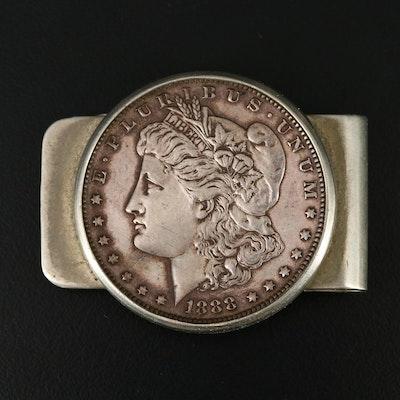 Nickel Silver Money Clip with 1888 Morgan Silver Dollar