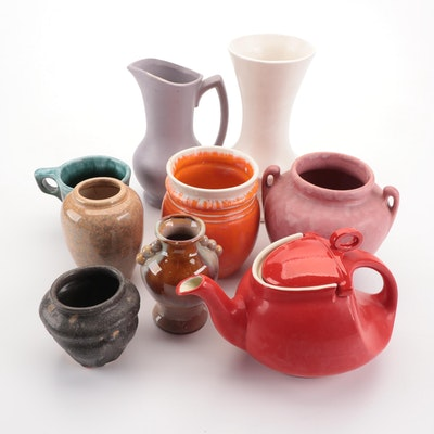 McCoy and Others Ceramic and Earthenware Vases, Teapot and Pitcher