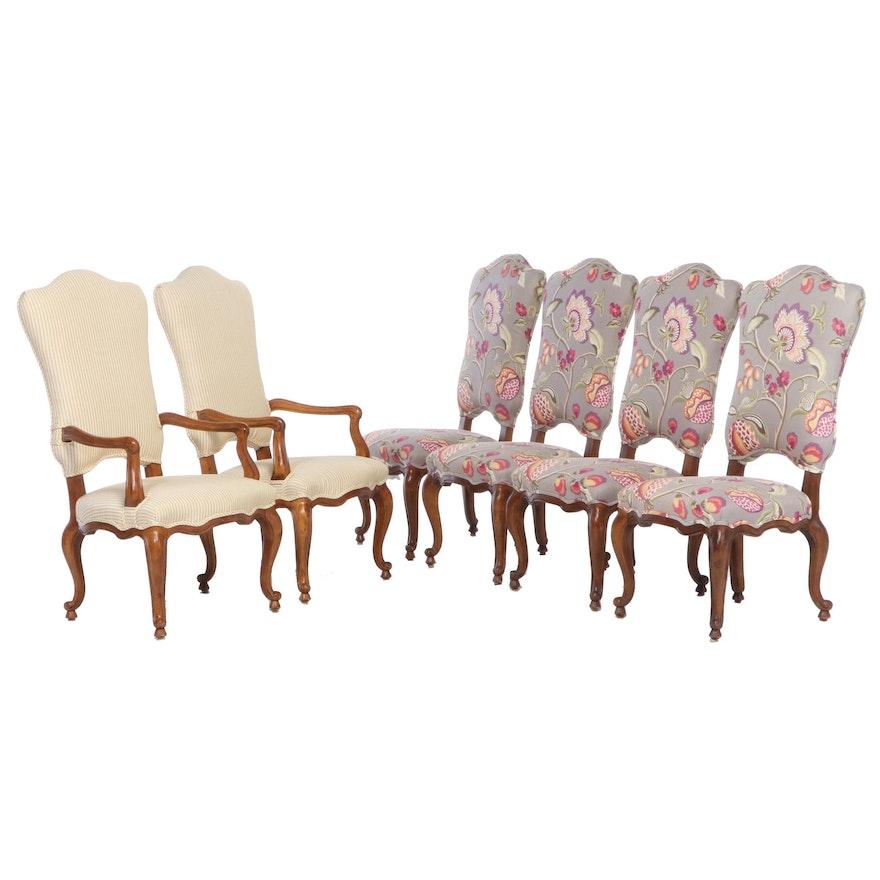Six Century Furniture Louis XV Style Custom-Upholstered Hardwood Dining Chairs