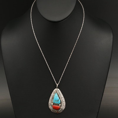 Effie Calavaza Zuni Sterling Turquoise and Coral Pendant Necklace