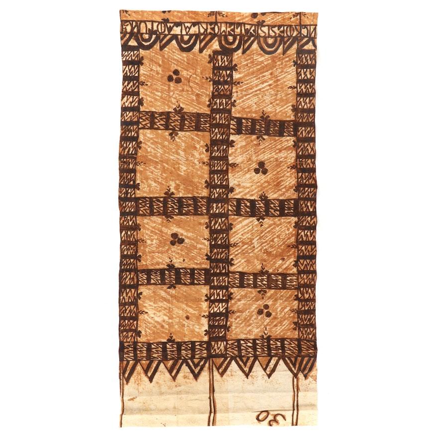 Tongan Ngatu Style Painted Barkcloth Panel