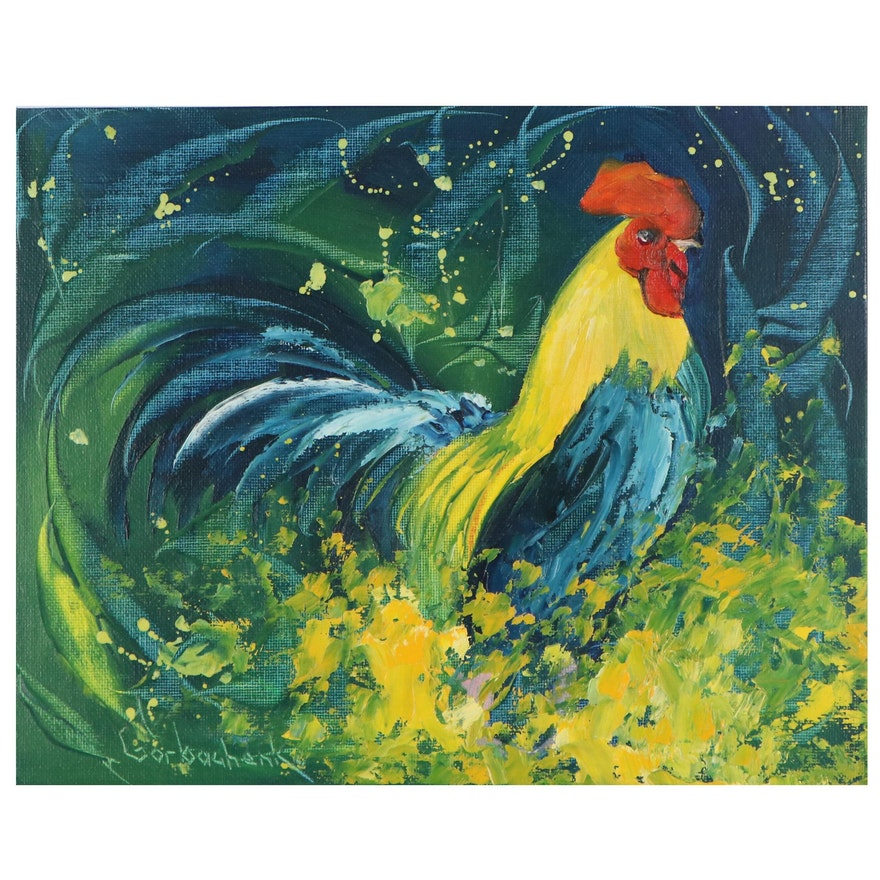 Tetiana Gobachenko Oil Painting of Rooster, 21st Century
